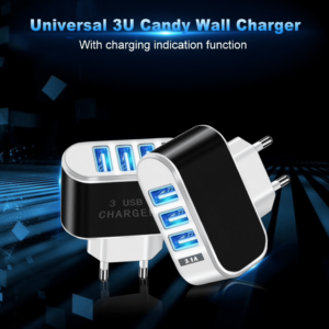3 Ports USB Charger with Converter Socket