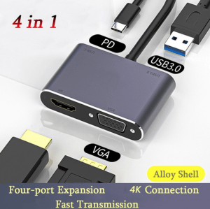 Type C Adapter 4K HDMI VGA USB 3.0 - 4 in 1 Converter for Macbook Pro Thunderbolt 3