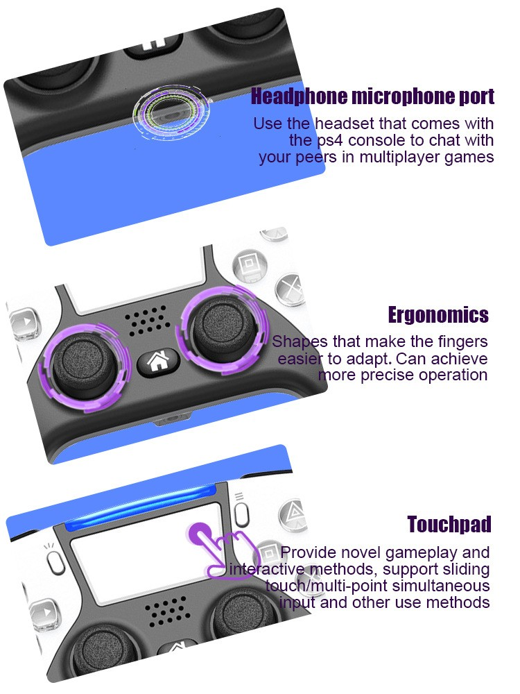 headphone microphone port | ergonomics | Touchpad | Game Controller 4.0 For PS4