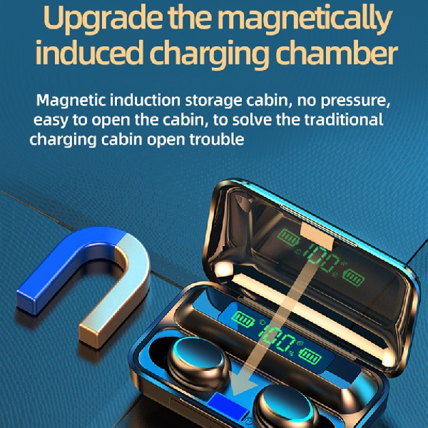 new wireless earbuds f9 magnetic charging champer